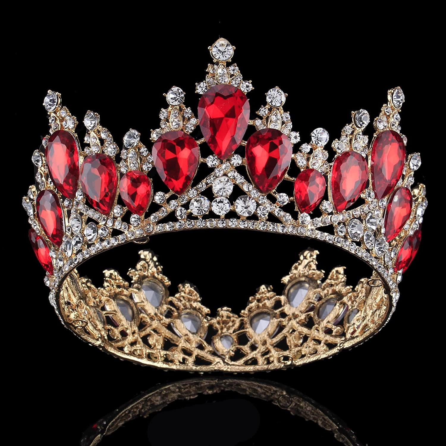 Amazon.com   Vintage Rhinestones Crystal Crown for Women Wedding Bridal  Tiara Flower Crown Hair Accessories (gold-red)   Beauty 91b091935b8e