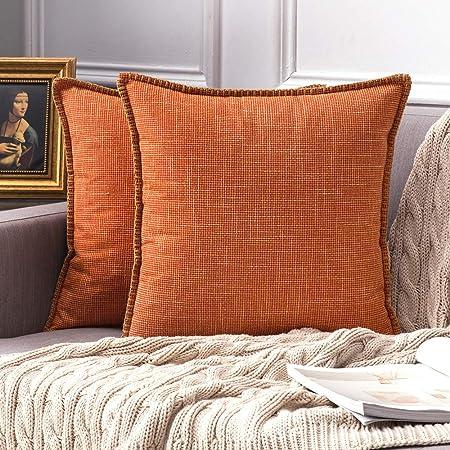 MIULEE Confezione da 2 Federe per Cuscini Copricuscini Bordati in Lino  Incrociato Fodere Decorative per Divano Camera da Letto Auto 45X45cm Arancio