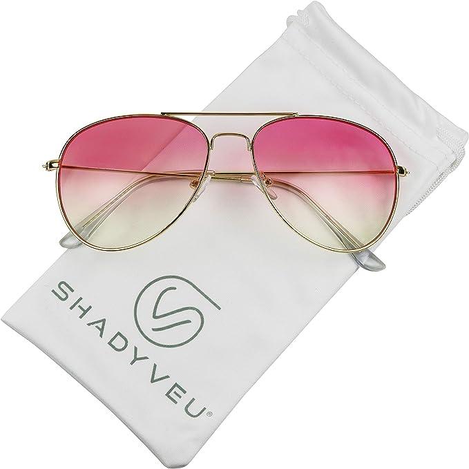 ShadyVEU Retro Smoke Lens Classic OG Teardrop Aviator Metal Frame Sunglasses