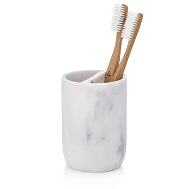 EssentraHome Blanc Collection White Toothbrush Holder Stand for Vanity Countertops