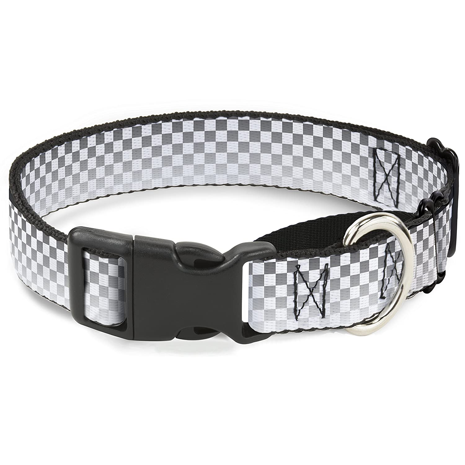 Buckle-Down Checker Black White Fade Out Martingale Dog Collar, 1  Wide-Fits 15-26  Neck-Large