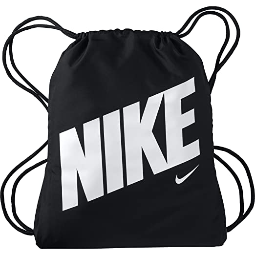 78ffcfdff Amazon.com: NIKE Kids' Graphic Gym Sack, Black/Black/White, One Size ...