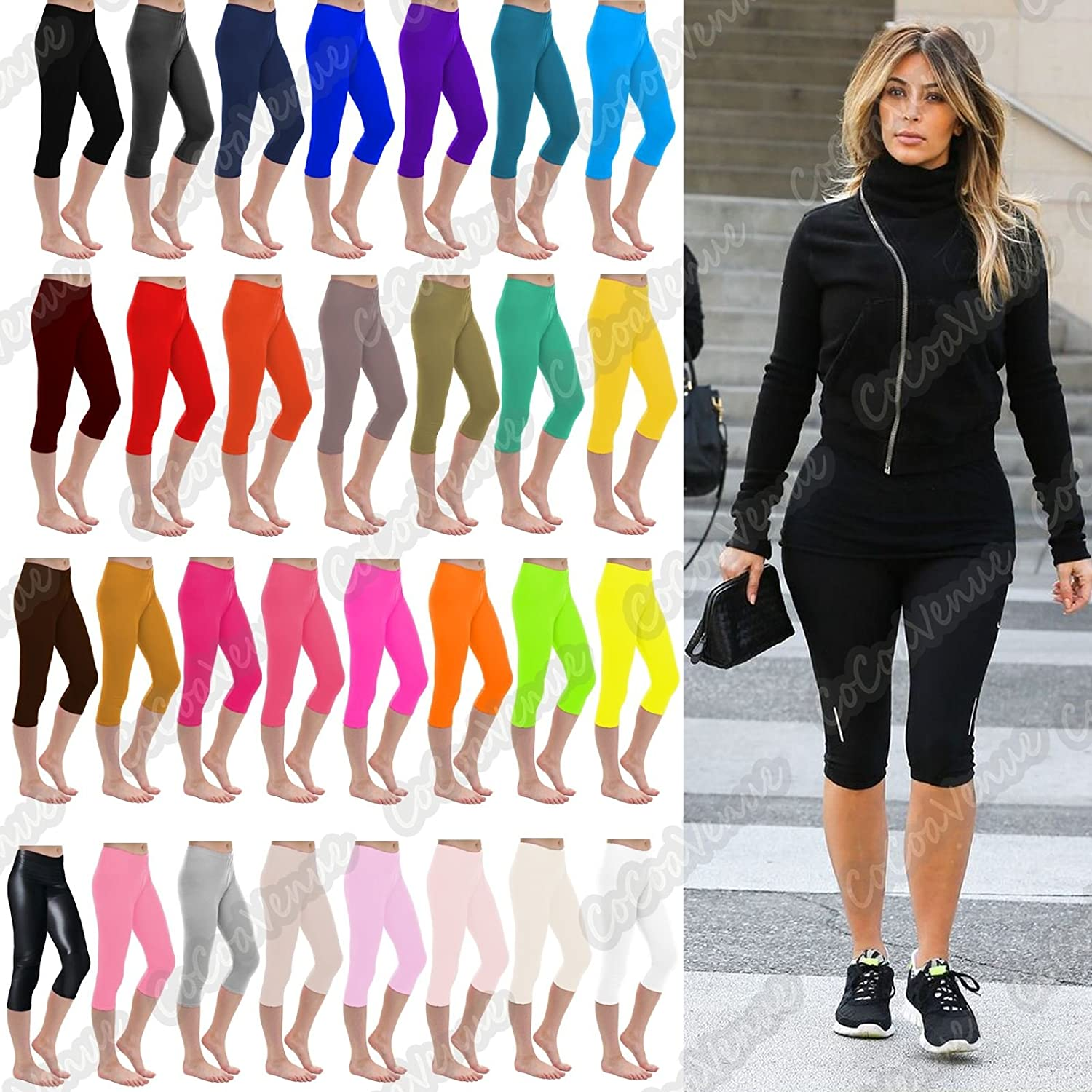 janisramone Womens Ladies New Plain Stretchy 3//4 Leggings Workout Tight Gym Cropped Capri Active Pants