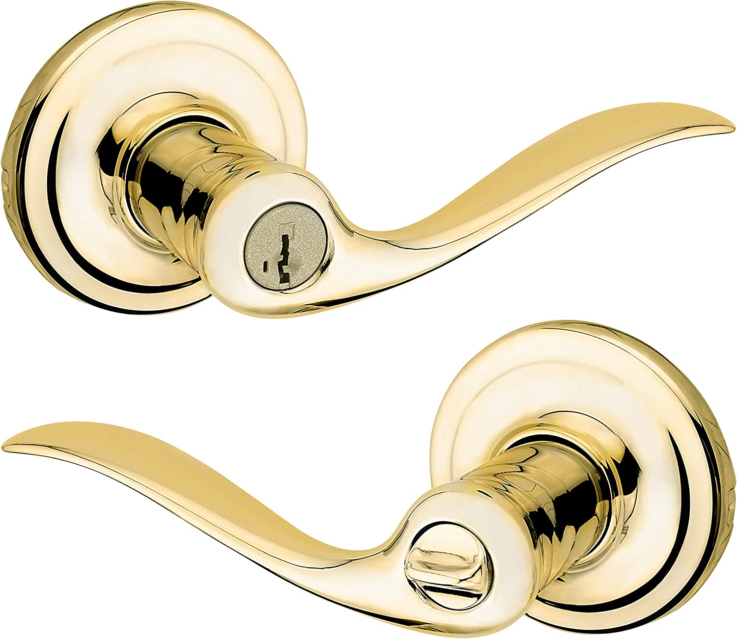 Tustin Keyed Entry Lever with Microban Antimicrobial Protection featuring SmartKey Security in Polished Brass