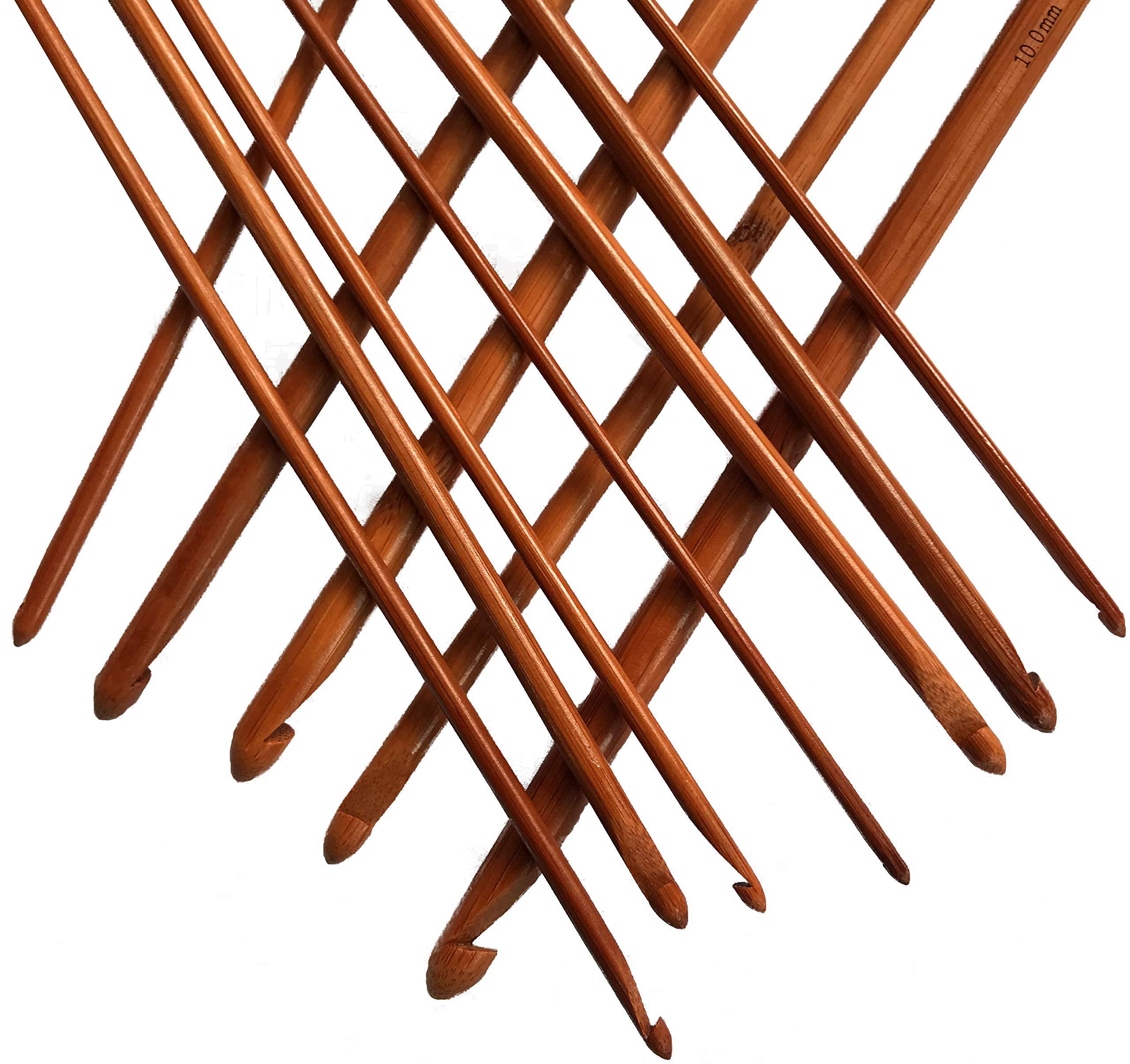 Tunisian Crochet Hooks Set Afghan Crochet Hook Tunisian Crochet Needles Bamboo 3 3.5 4 4.5 5 5.5 6 6.5 7 8 9 10 by Athena YY (Image #3)