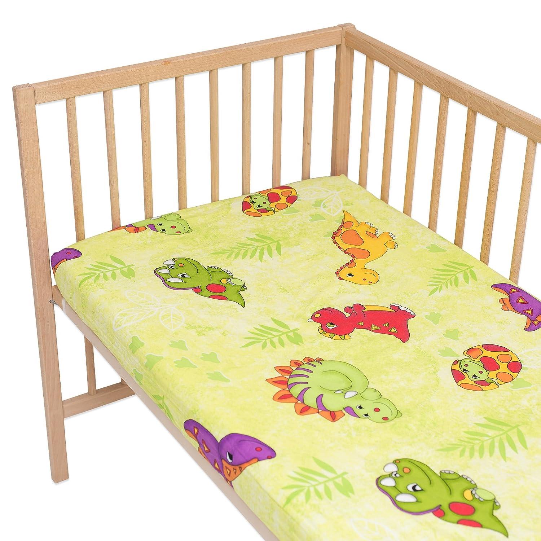 Dinosaurios - Pati'Chou 100% Algodón Juego de 2 sábanas bajeras ajustables para minicuna SoulBedroom