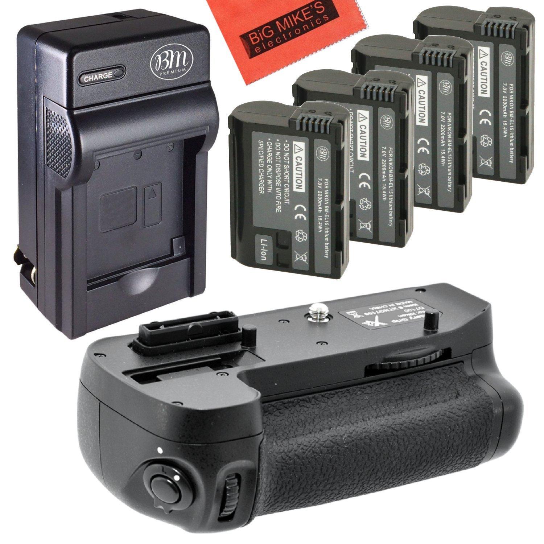 Battery Grip Kit for Nikon D7000 Digital SLR Camera - Includes MB-D11 Replacement Vertical Battery Grip + Qty 4 BM Premium EN-EL15 Batteries + Rapid AC/DC Charger by Big Mike's