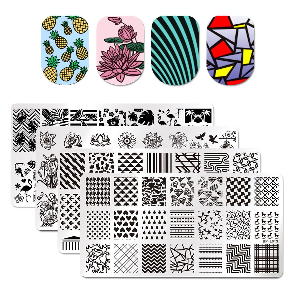Born Pretty 4 Pcs Nail Art Stamping Templates Summer Fruit Leaf Flamingo Flower Heart Diamond Grids Rectangle Design Image Plates for Manicure Print DIY Tool
