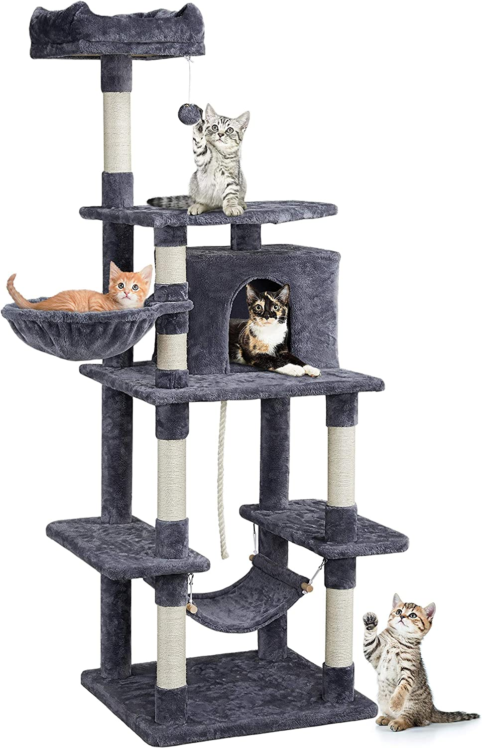YAHEETECH 69.5inch Multi Level Cat Tree Tower for Large Cats with Condo & Perch & Basket & Scratching Posts & Hammock Cat Activity Center