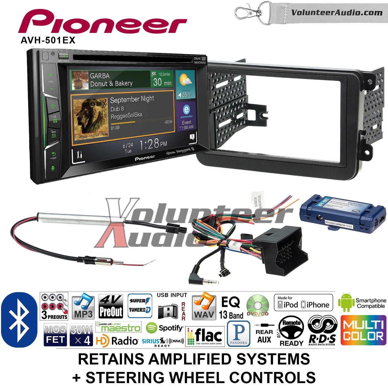 Pioneer AVH-501EX Double Din Radio Install Kit with DVD/CD Player Bluetooth Fits 2012-2014 Volkswagen Beetle, 2010-2014 Golf, 2006-2015 Jetta by Volunteer Audio (Image #1)