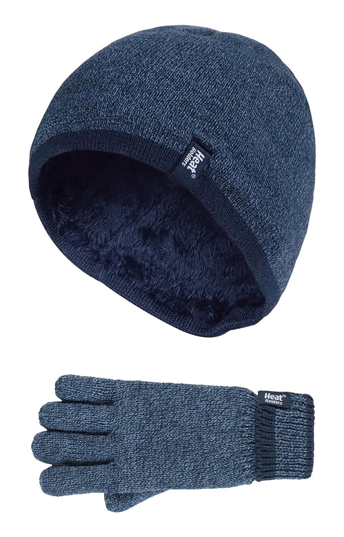 Heat Holders - Kids Boys Fleece Insulated Knit Winter Beanie Hat and Gloves Set