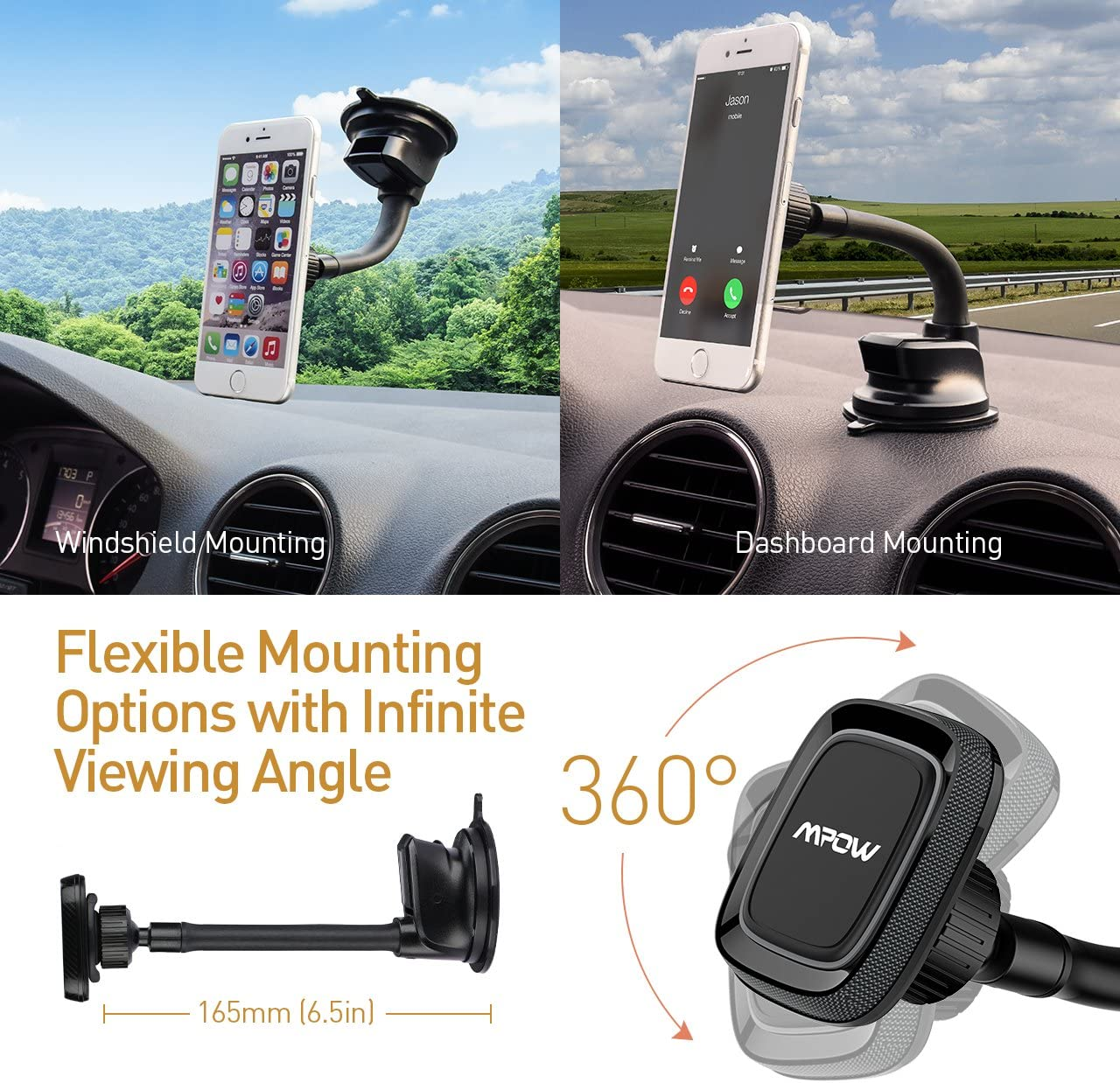 Mpow Grip Flexible Universal Windshield 22 Cm Long Arm Extra Dash Base And Dual Suction Cup Car Mount For Smart Phones Gps Devices Etc Black Navigation Car Hifi