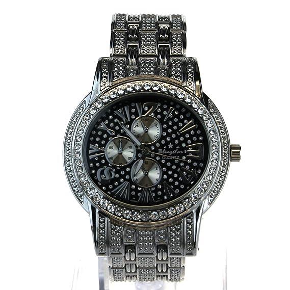Para mujer helado Out Bling Luxury Plata Joya Ronda analógica metal Reloj: Amazon.es: Relojes