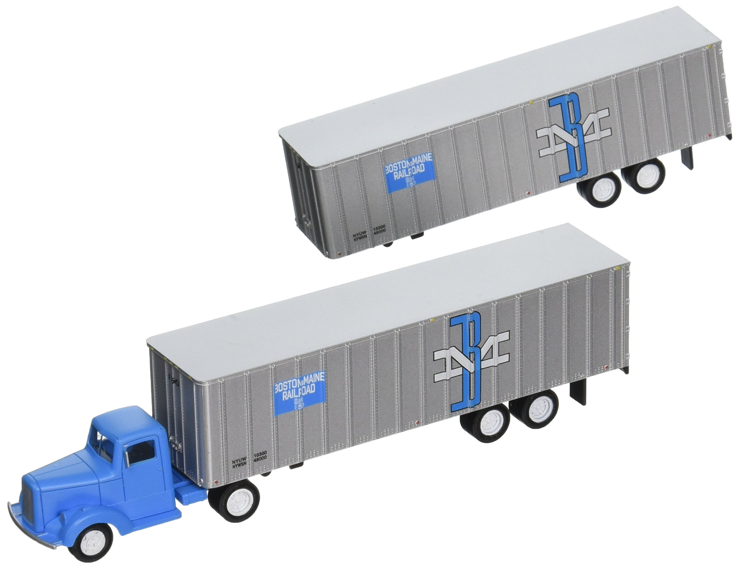 Bachmann Industries Boston & Maine 1950's/60's Truck Cab Want Two Piggy Back Trailers (HO Scale Train) by Bachmann Trains