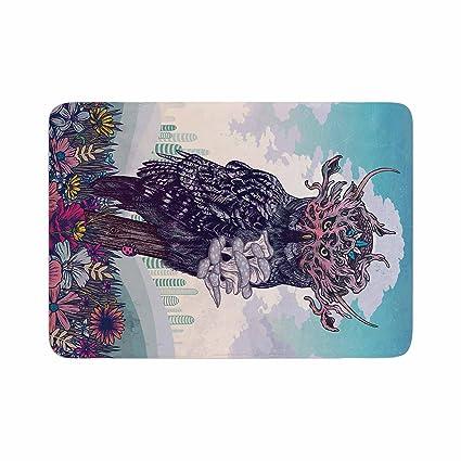 KESS InHouse AlyZen Moonshadow BIRD AND BLOSSOM Teal Green Memory Foam Bath Mat 17 x 24