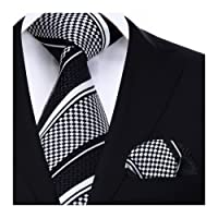 HISDERN Striped Wedding Tie Handkerchief Men's Necktie & Pocket Square Set