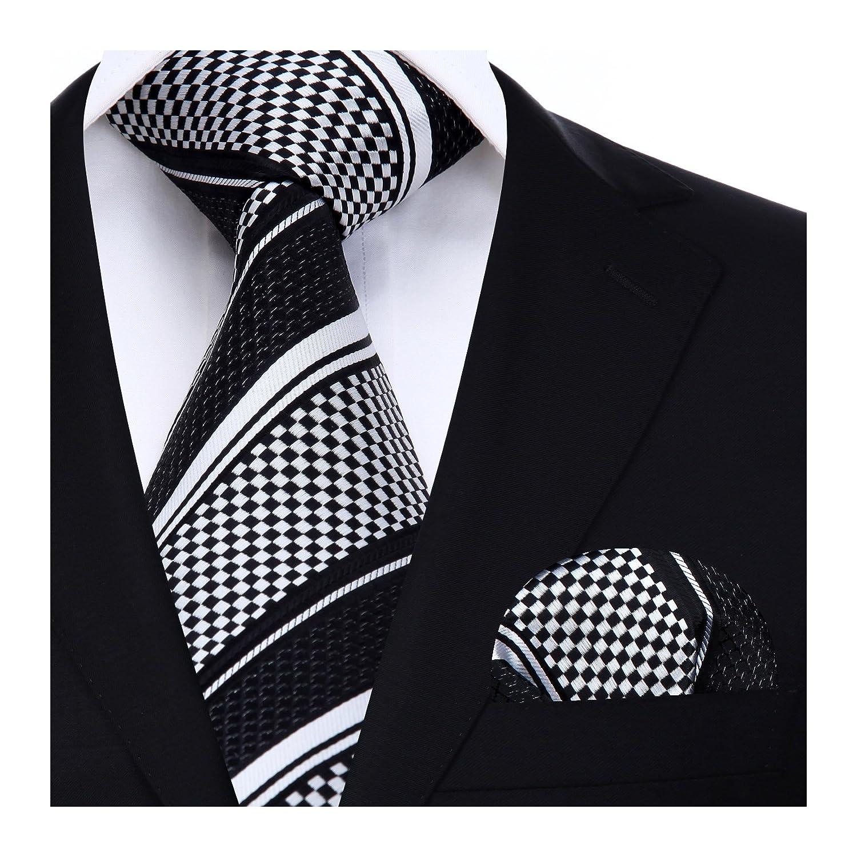 Hisdern Herren Krawatte Gestreifte Hochzeit Krawatte /& Einstecktuch Set