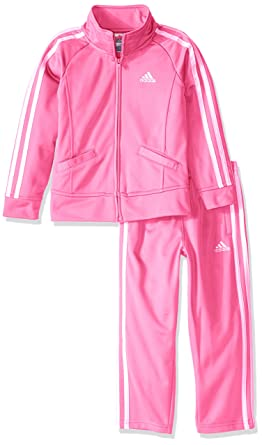 98503b1e5 adidas Little Girls' Tricot Zip Jacket and Pant Set, Pink Basic, ...