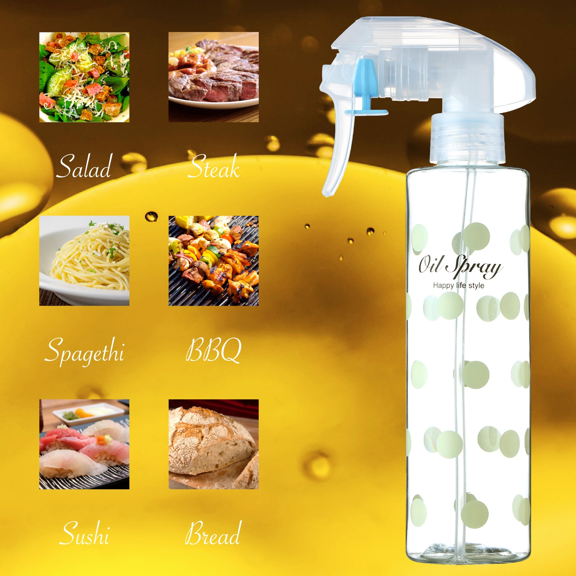 Olive Oil Sprayer Oil Mister Kitchen and Grill Cooking Oil Bottle Refillable Non-Aerosol (200ml/7oz)