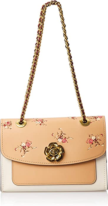 Women Parker Colorblock Tan Peach Brown Shoulder Bag Purse Chain Bags