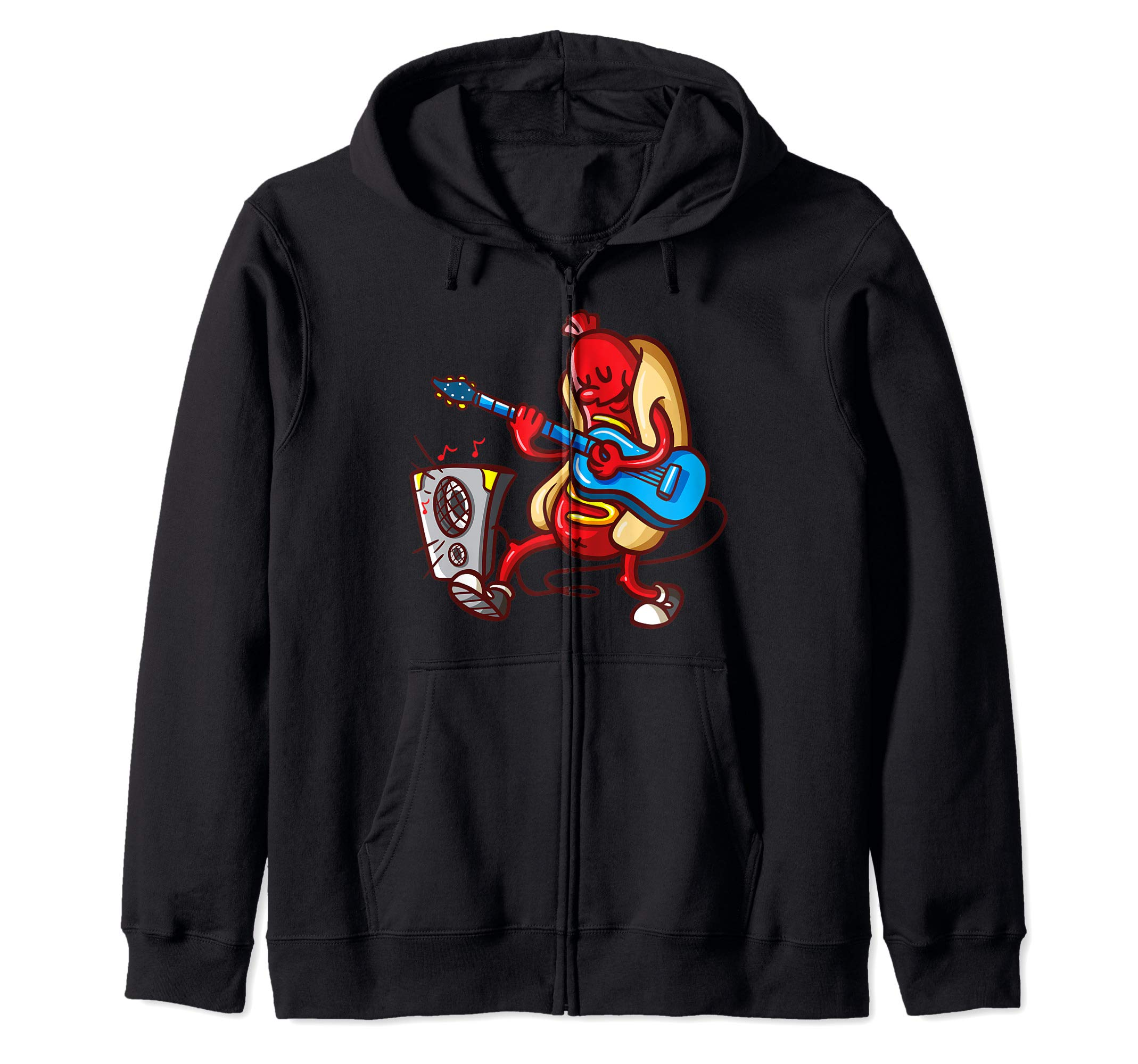Hot Dog Guitarist American Food Lover BBQ Gift Costume Shirt Zip Hoodie by Hot Dog Costume Co.