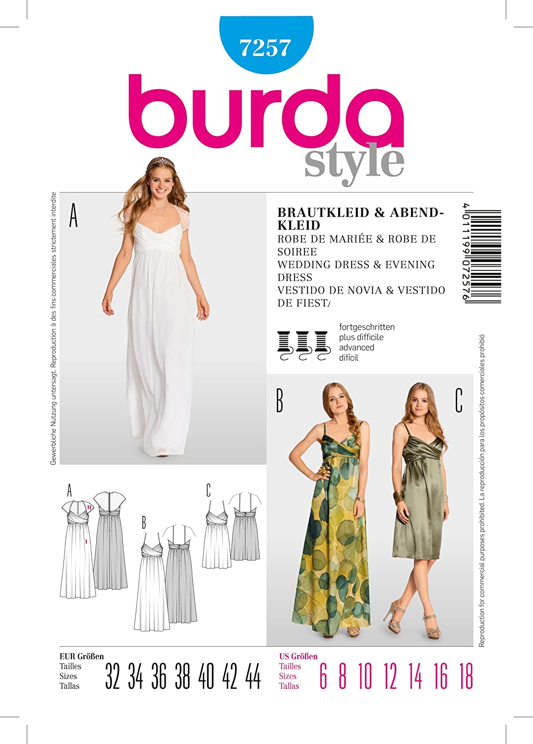Amazon.com: Burda Evening & Bridal Wear Sewing Pattern 10 Sizes