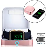 Apple Watch charger case [iWatch Charger & iPhone Power Bank] SUMATO WATCHBOX Travel Box, Desk Night Stand, Charging Station for iWatch 1 2 3   MFI Certified, 5000mAh, Built-in Watch Cable (Rose Gold)