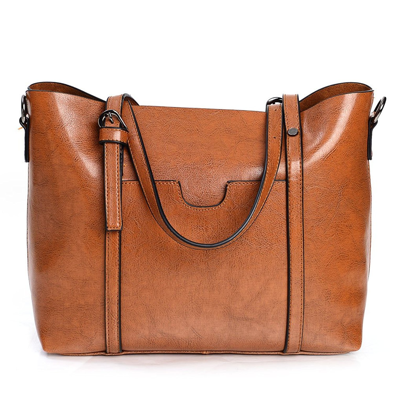 Vintga Women's Leather Work Tote Bag Large Shoulder Bag Purse Top Handle Satchel Handbags Crossbody Bag (Brown)