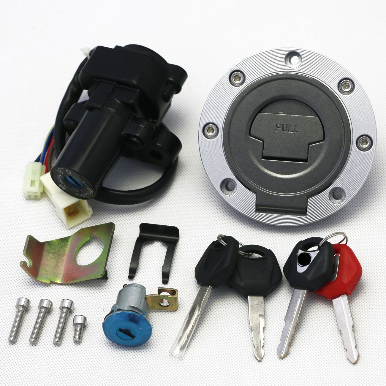 Ignition Switch Fuel Gas Cap Seat Lock Key Set for Yamaha YZF R1 2002-2003 2007-2010 R6 2004 2006-2009 FJR1300 2001-2010 FZ6 FZ6S FZ6N 2004-2010 COBIKE