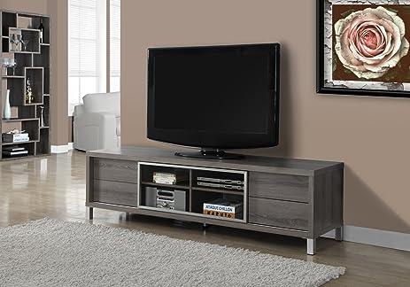 Monarch Specialties I 2536, TV Console, Euro Style, Dark Taupe, 70u0026quot;