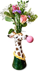 Face Vase – Giraffe Vase. This Fabulous face Planter Makes an Ideal Elegant Ceramic Vase for Any Home or Office Decor. The Perfect Head Planter for a Touch of Animal Magic. (Giraffe)