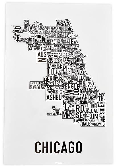 Amazoncom Chicago Neighborhoods Map Art Poster Black White - Chicago neighborhood map art