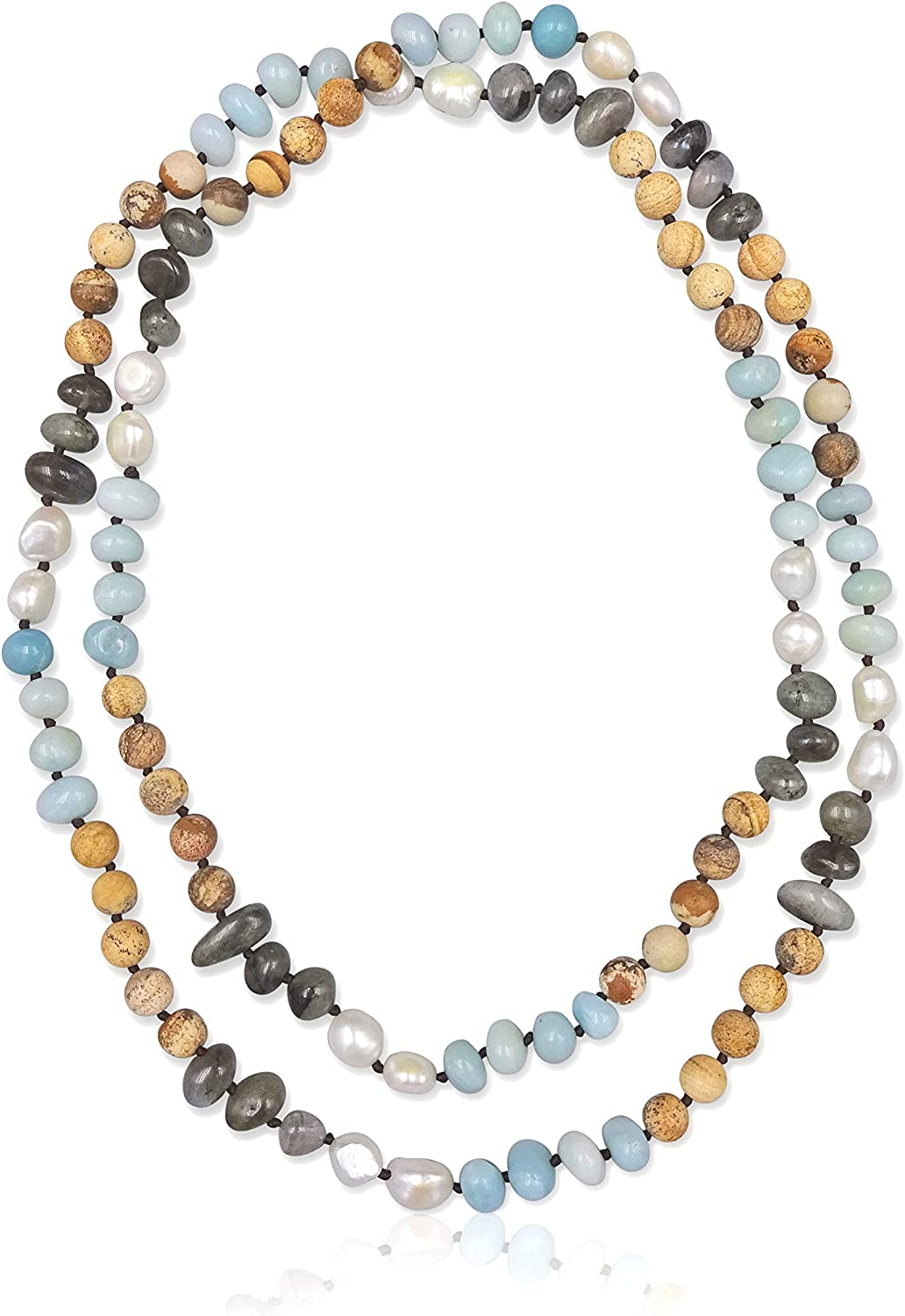42 Long. Endless Infinity Mixed Semi-Precious Stone and Cultured Fresh Water Pearl Beaded Strand Statement Necklace MGR MY GEMS ROCK