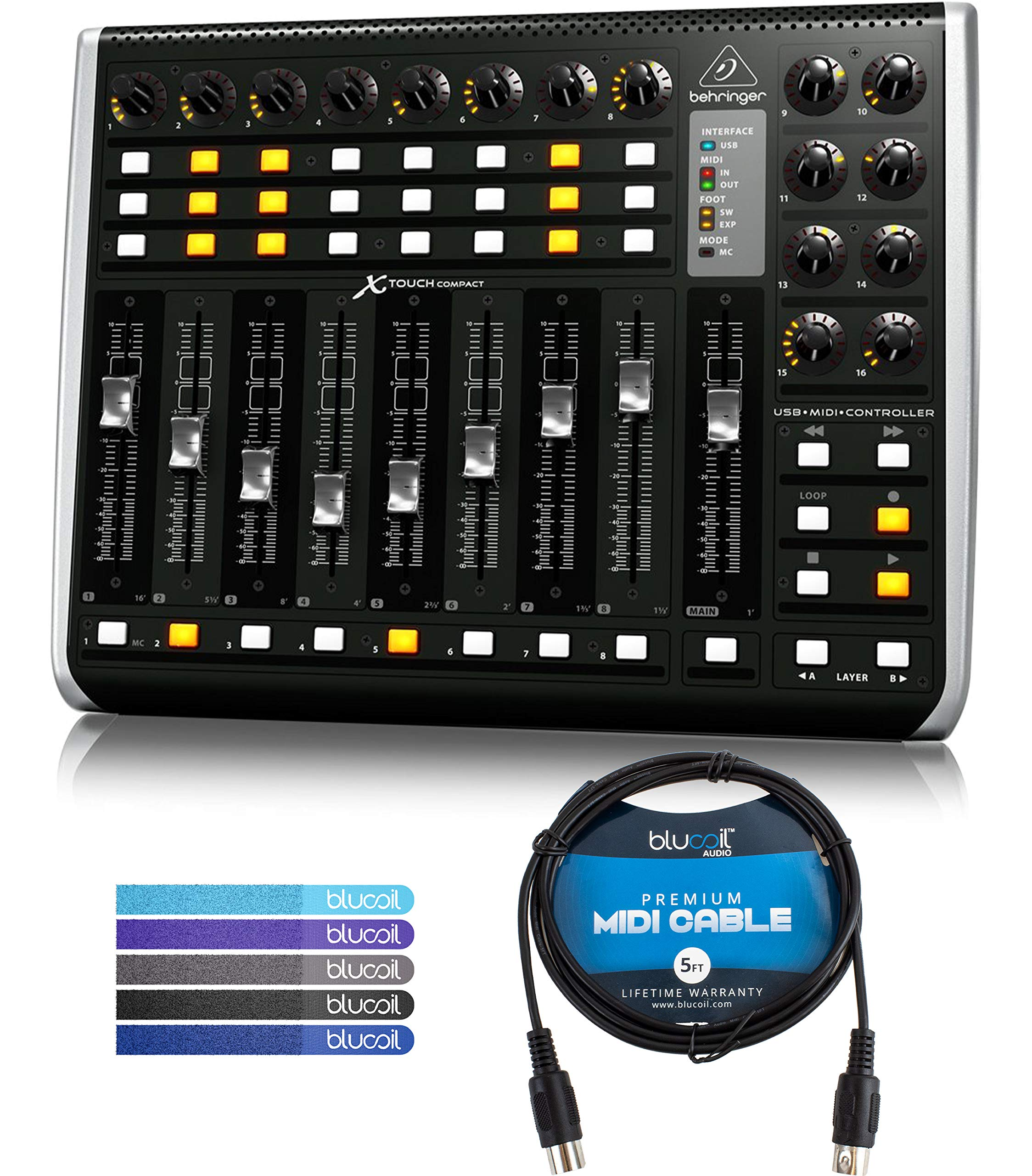 Behringer X-TOUCH COMPACT MIDI/USB Controller with 9 Motor Faders Bundle with Hosa MID-305BK 5-ft MIDI Cable and 5 Pack of Blucoil Cable Ties