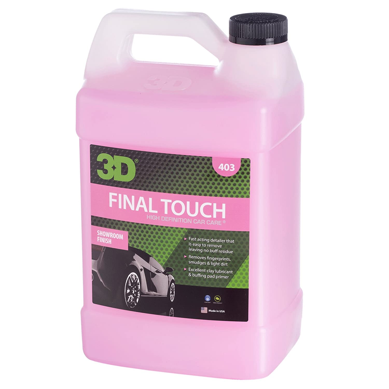 3D Final Touch Waterless Car Wash with Wax Protection - 1 Gallon | Quick Auto Detail | Dry Wash & Express Wax | Made in USA | All Natural | No Harmful Chemicals