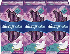 Always Radiant Feminine Pads with Wings for Women, Size 3, 66 Count, Extra Heavy Overnight, Light Clean Scent (22 Count, Pack of 3-66 Count Total)