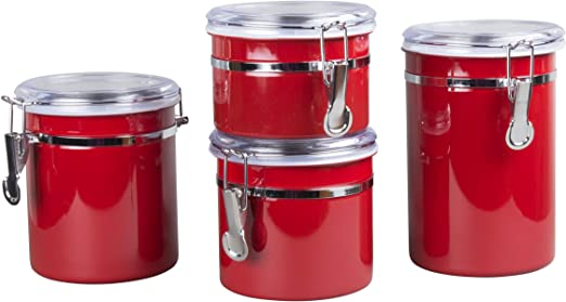 Creative Home 4-Pieces Stainless Steel Canister Container Set with Air Tight Lid and Locking Clamp, Red, 26 oz, 36 oz, 47 oz, and 62 oz