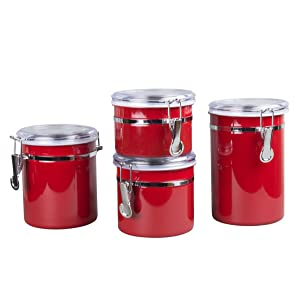 Creative Home 50283 4-Pieces Stainless Steel Canister Container Set with Air Tight Lid and Locking Clamp, Red 26 oz, 36 oz, 47 oz, and 62 oz