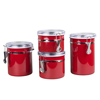 Creative Home 50283 4-Pieces Stainless Steel Canister Container Set with Air Tight Lid and Locking Clamp, Red, 26 oz, 36 oz, 47 oz, and 62 oz