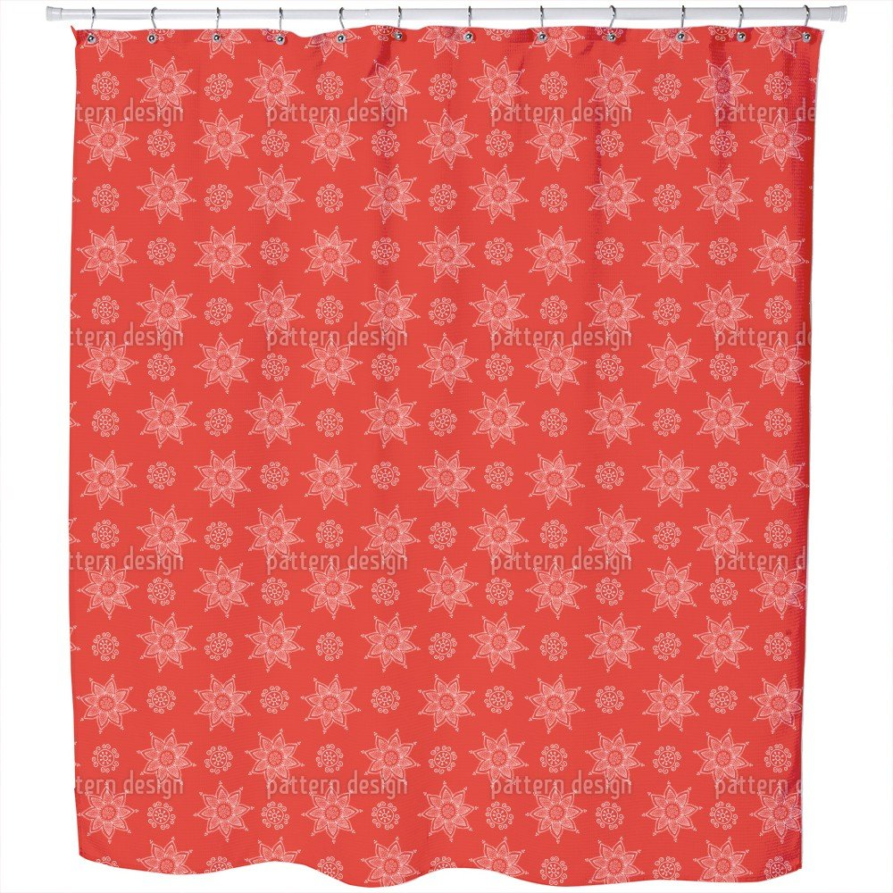 Uneekee Indian Flower Christmas Shower Curtain: Large Waterproof Luxurious Bathroom Design Woven Fabric
