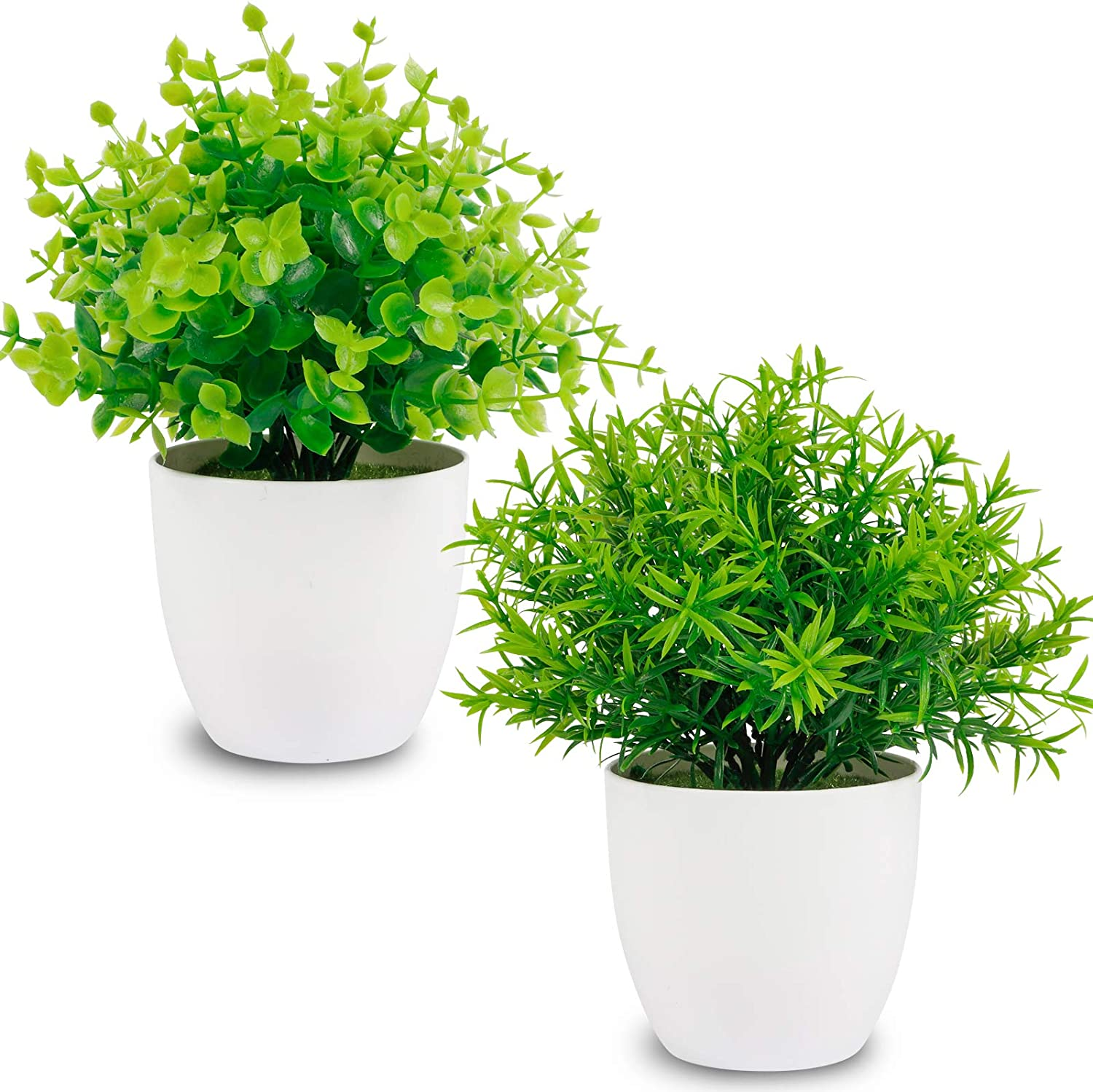 Whonline 2pcs Artificial Potted Plants Fake Mini Greenery Eucalyptus and Rosemary Leaves Plants in Plastic Pot for Home Table Desk Office Bathroom Decor