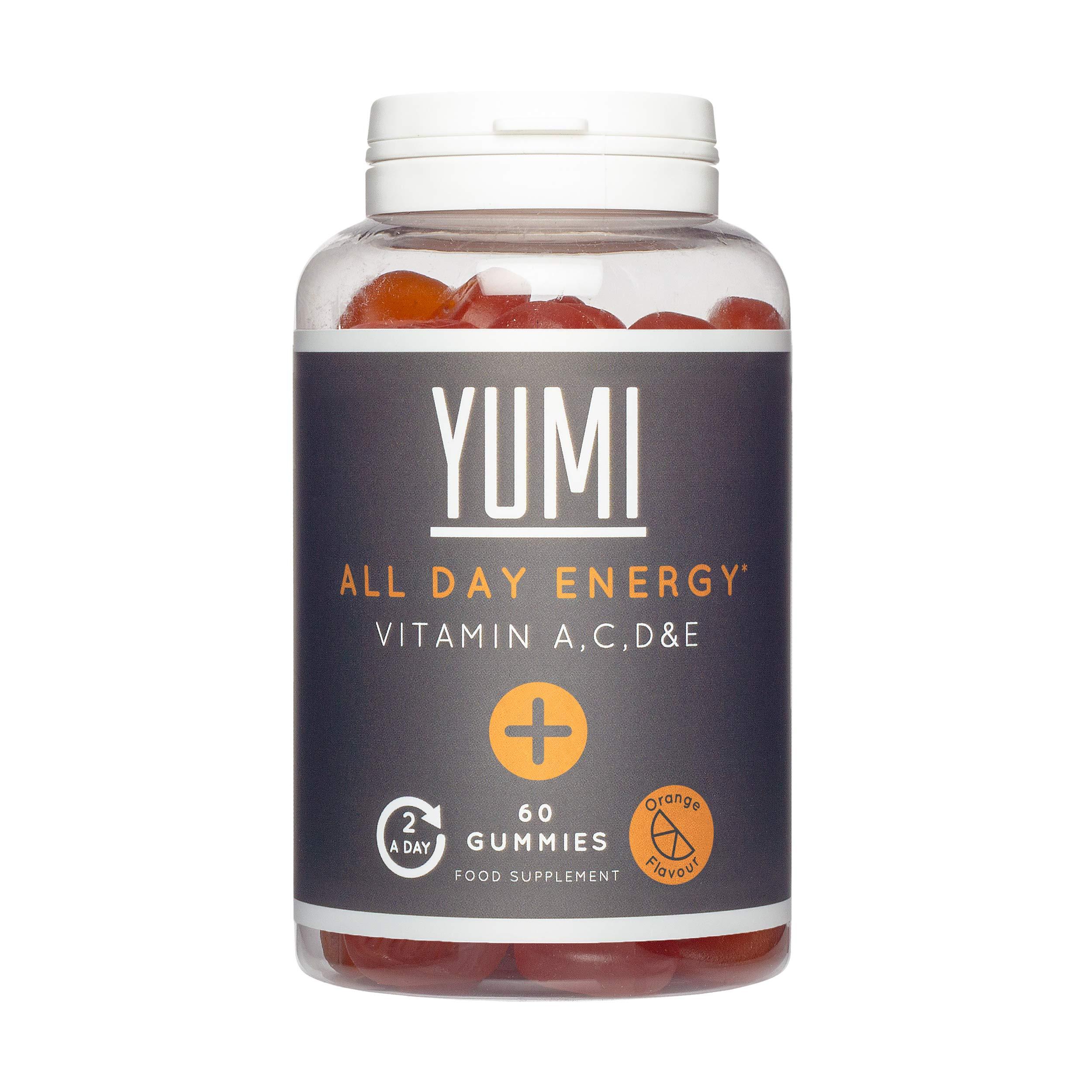 Yumi All Day Energy Multivitamin + Biotin Gummies | Essential Vitamins A,D,E,C,B6 Biotin & Minerals Supplement | 60 Vegan Friendly Gummies (Orange Flavour)