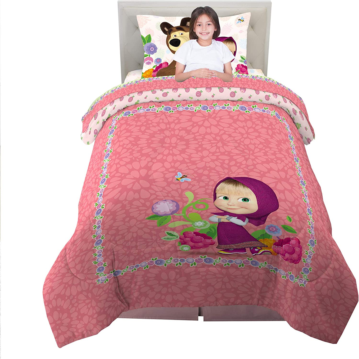 Masha and The Bear 5 Piece Full Size Franco Kids Bedding Comforter and Sheet Set