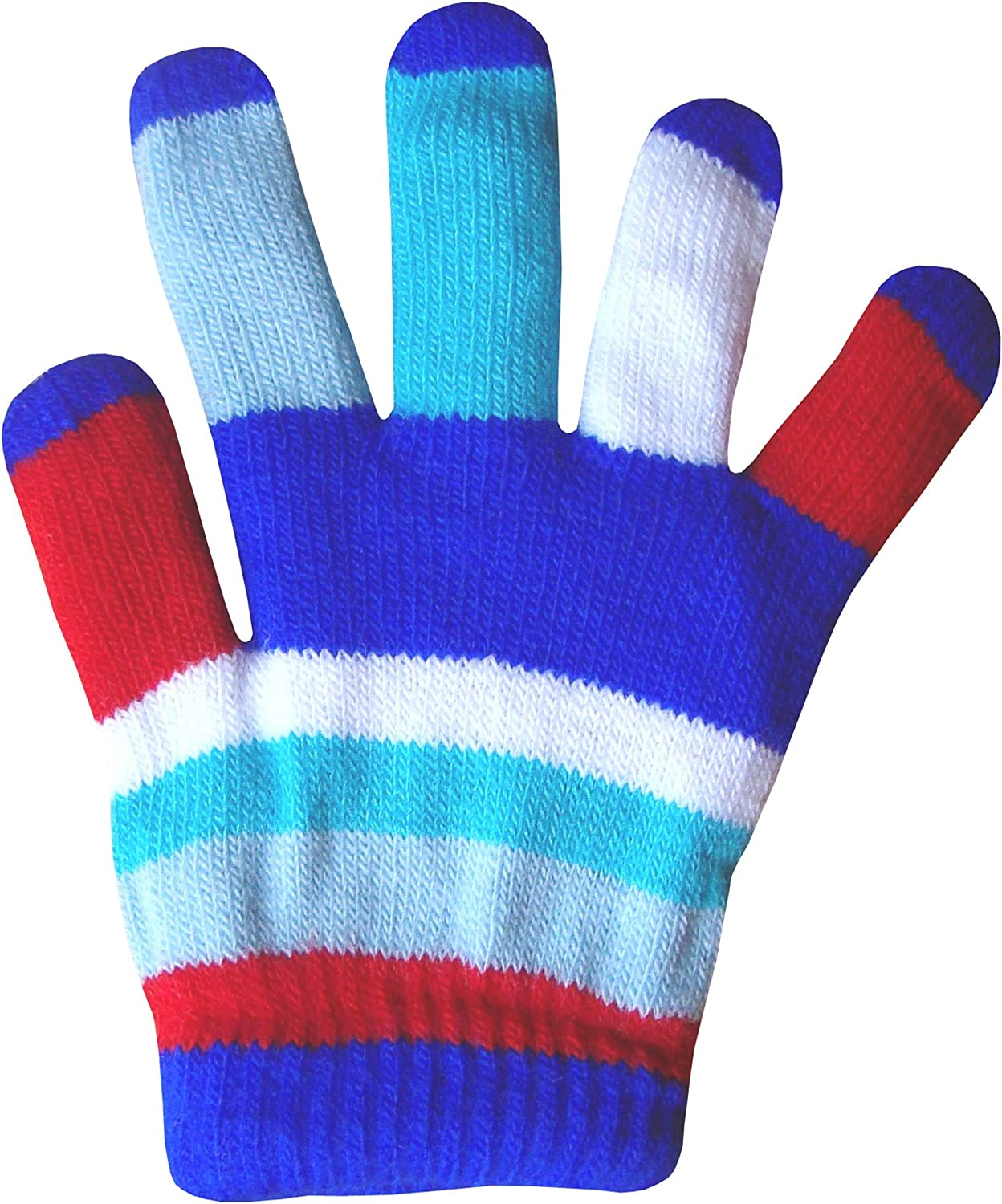 Childrens Padded Colourful Magic Rainbow Winter Stretch Gloves
