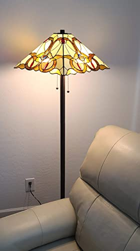 Tiffany Style Floor Lamp Mission Standing Vintage Antique 63″ Tall Stained Glass Brown Red Tan Traditional Light Decor Bedroom Living Room Reading Gift AM343FL17 Amora Lighting