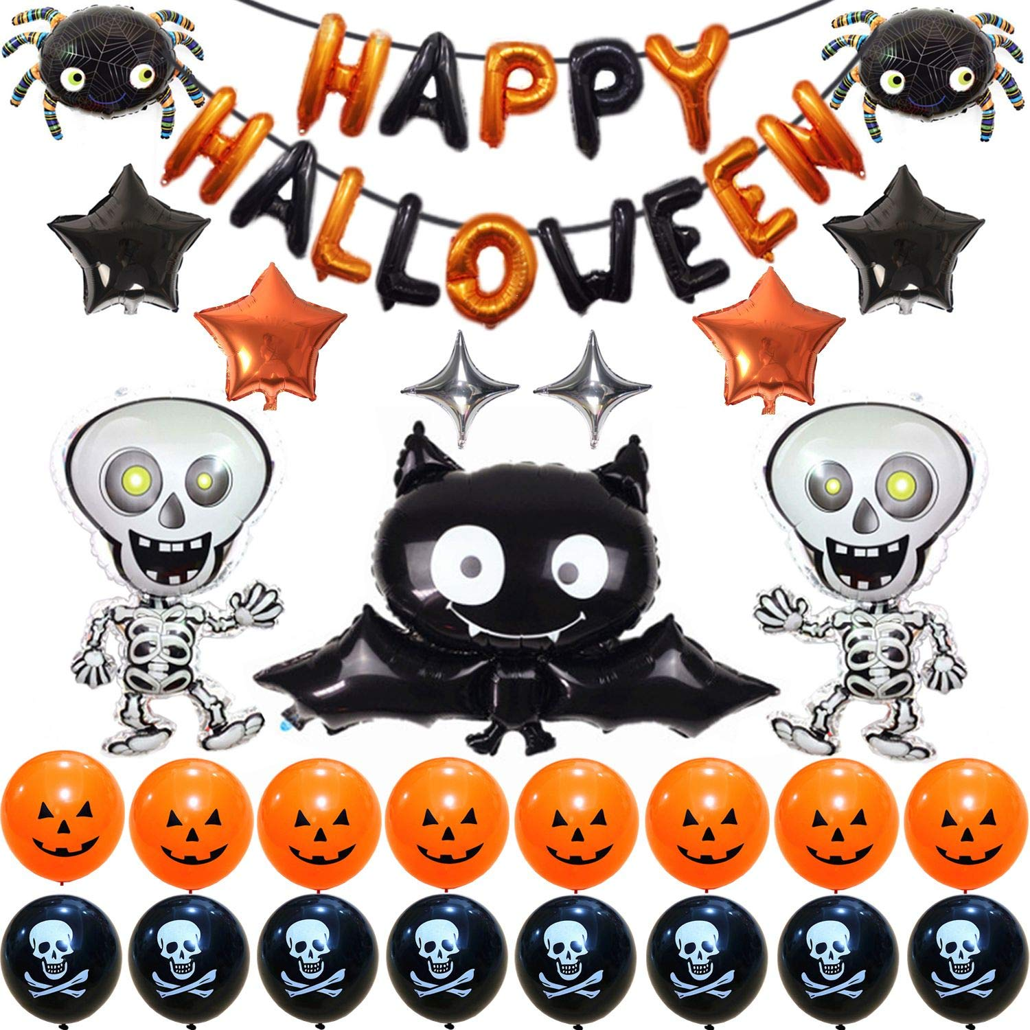 Cute Cartoon Bat Halloween Party Supplies, Halloween Decoration Set With Bat & Skeleton Balloons and Five & Four-Pointed Star Foil Balloons Pumpkin And Pirate Latex Balloons, Full Party Set 41PCS For Halloween Party