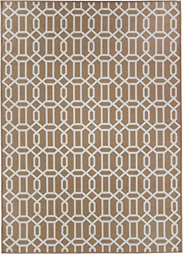 RUGGABLE Washable Stain Resistant Indoor Outdoor, Kids, Pets, and Dog Friendly Area Rug, 5 x7 , Fretwork Tan