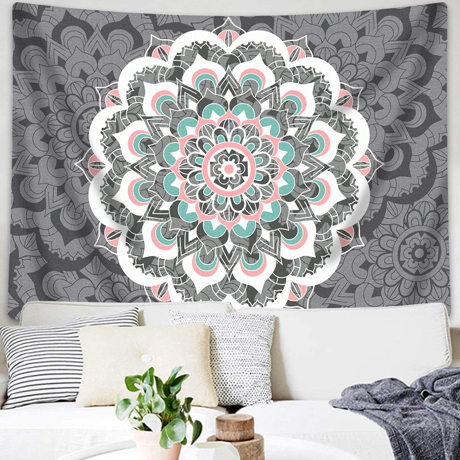 "Sunm Boutique Tapestry Wall Hanging Indian Mandala Tapestry Bohemian Tapestry Hippie Tapestry Psychedelic Tapestry Wall Decor Dorm Decor(Colorful,51.2""x 59.1"")"