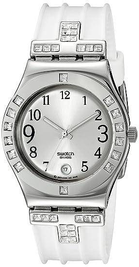 Swatch - Reloj de mujer de cuarzo, correa de piel color blanco: Swatch: Amazon.es: Relojes