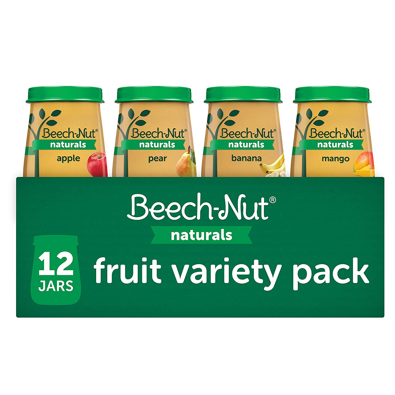 Beech-Nut Naturals Baby Food Jar Fruit Variety Pack (12 count, 4 oz jars)